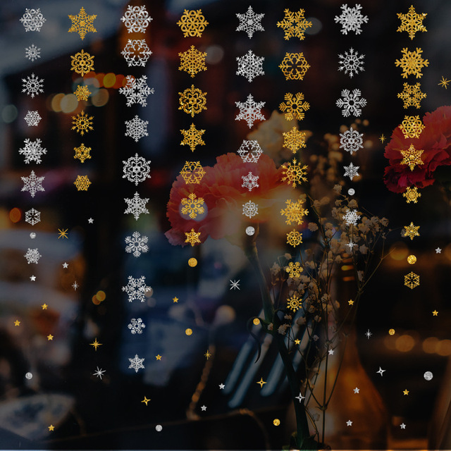 2019 new year gold powder silver powder snowflake christmas decorations for home window glass background decoration