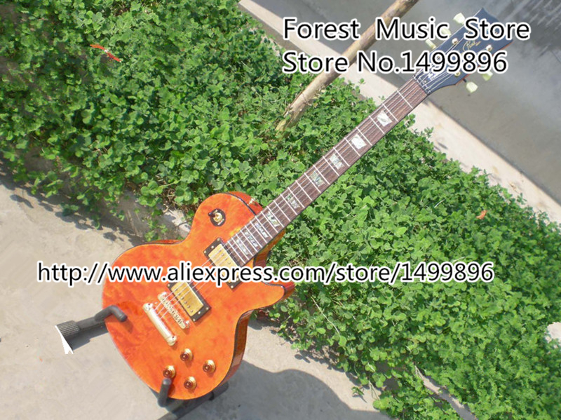 Top Selling Matte Brown Quilted LP Electric Guitar Black Binding Guitar Body Lefty Custom Availble