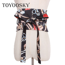 2019 New Spring Chinese Style Women Belt with Bow Tie and Printing Coloured drawing Seals with Super Wide Cloth Belts TOYOOSKY цены онлайн