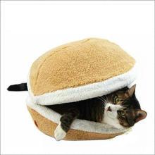 Hamburger Pet Cats Beds Kitty Cat Dogs Litter Shell Nest Sleeping Mats House Sofa Removable Thermal Hiding Burger Bun for Pets