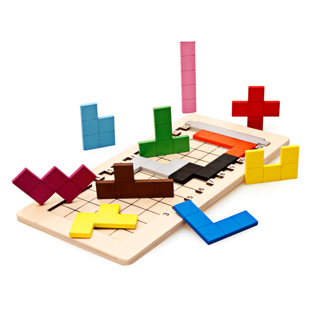 Colorful Wooden Tangram Tetris Game Brain Teaser Puzzle Toys Baby Preschool Magination Early Educational Kids Toy Children Gift 15