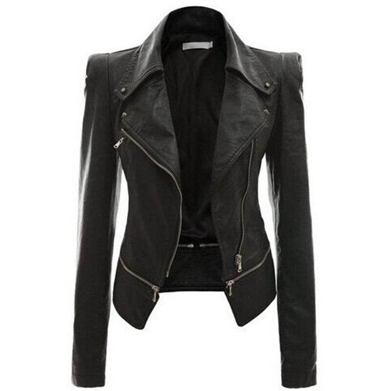 Leather Women Coat Punk Cardigan Plus Size Autumn Winter Bomber