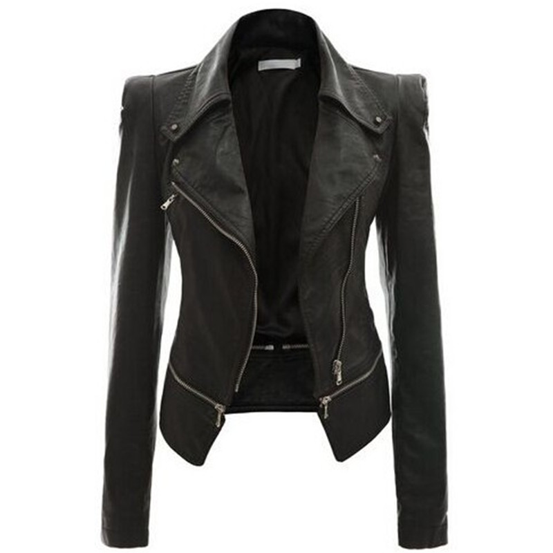 Leather Women Coat Punk Cardigan Plus Size Autumn Winter Bomber Jacket Casaco Feminino Basic Jackets Woman Clothes Outerwear