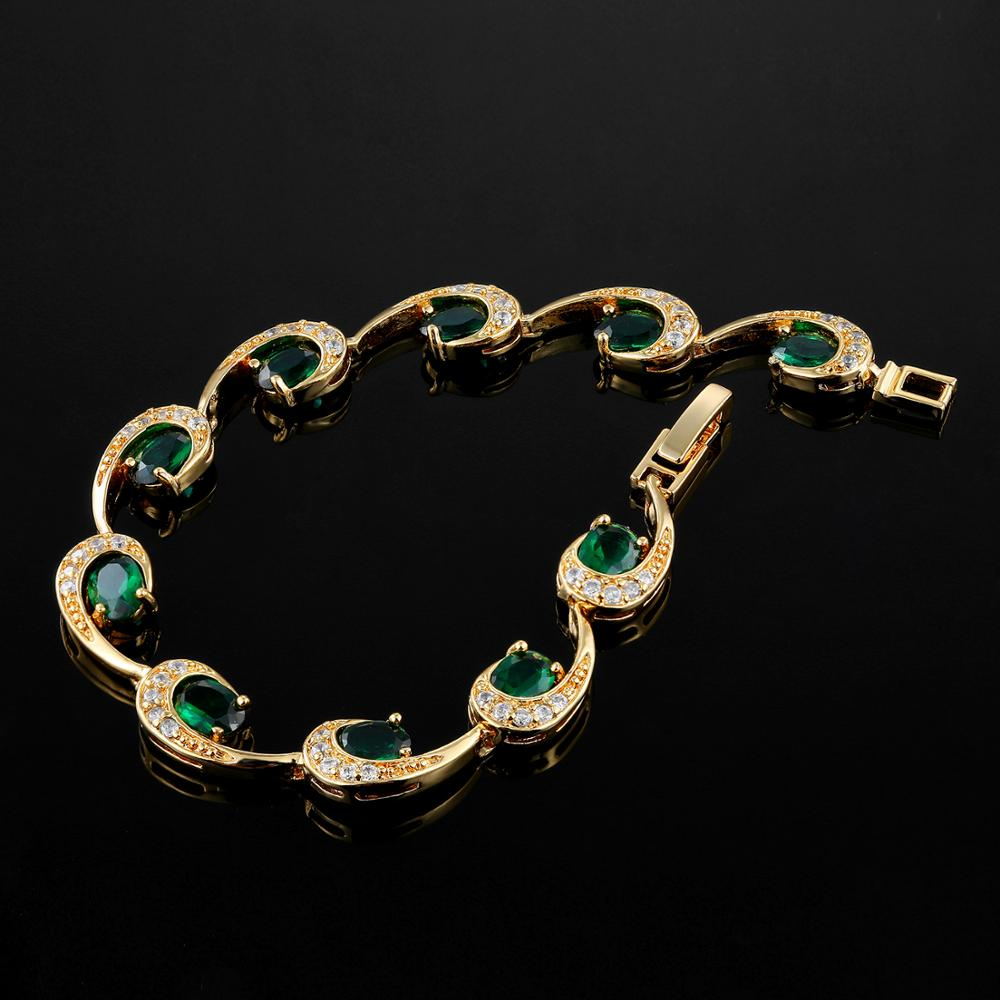 Charms Emerald Bracelets For Women 18CM Long Bohemia Gemstone bracelet Party Birthday Wedding present For Girls Drop Shipping in Bracelets Bangles from Jewelry Accessories
