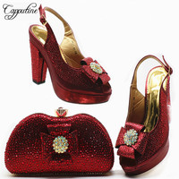 New Coming Nigerian Shoes And Bags To Match Shoes Set Italian Style Woman High Heels Shoes And Bag Set For Wedding Dress G80