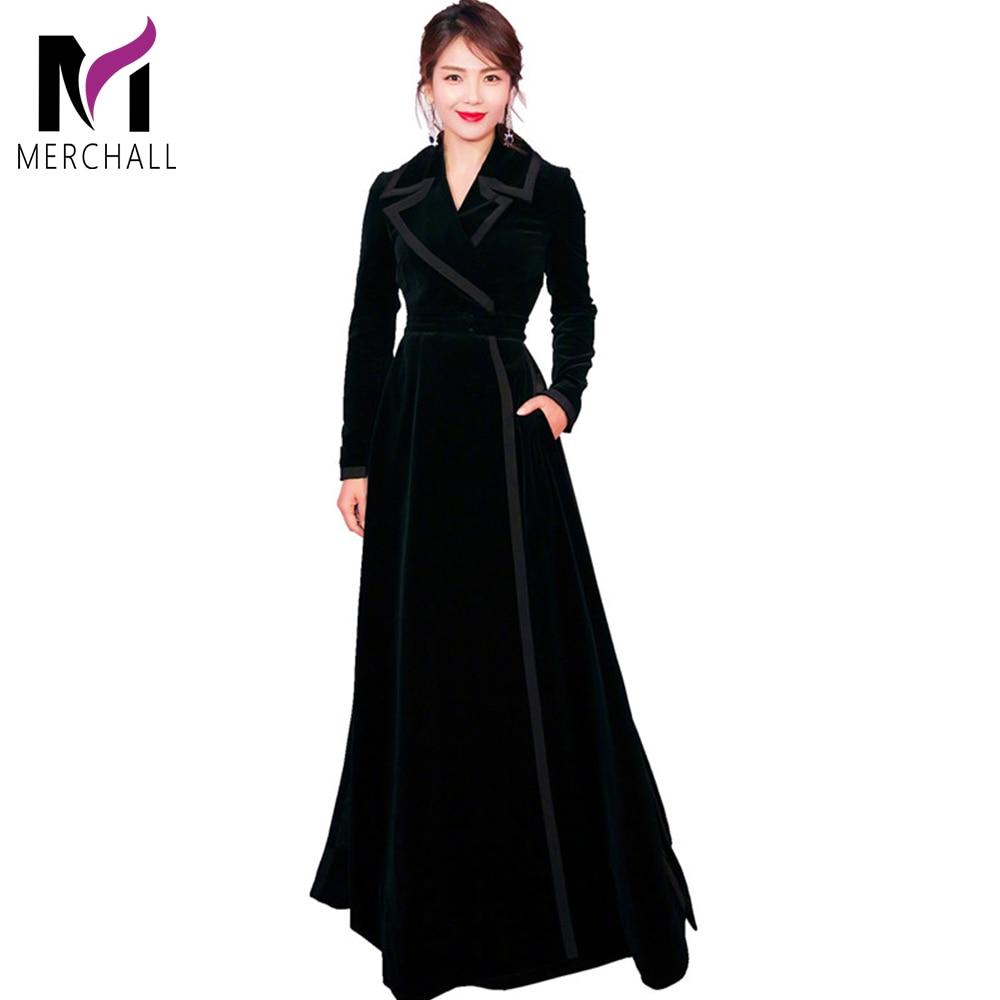 Nouveau 2019 hiver piste Designer femmes Vintage col cranté Wrap noir velours Maxi robe épaisse chaude longue Trench robe Outwear