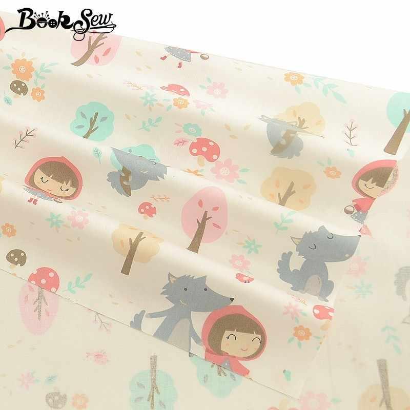Booksew diseño de dibujos animados 100% tela de algodón Telas Por Metro Tissu DIY acolchado para bebé sábana costura tela Patchwork hogar