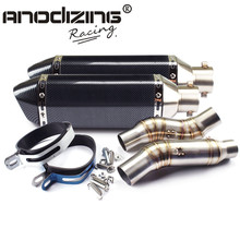 Motorcycle Exhaust middle pipe Round Muffler with 2 piece exhaust for Kawasaki Z1000 10-15 Slip-On
