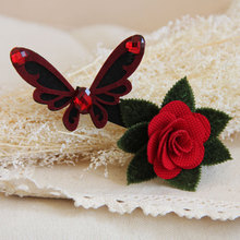 Princess gothic lolita hair accessory butterfly with red crystal vintage goths vampire cloth art clip Halloween hairpin FJ-75