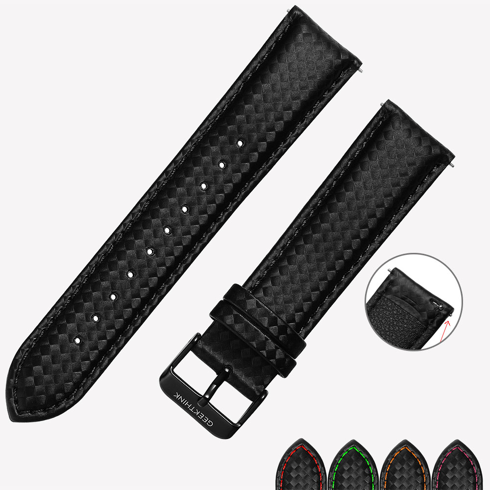 Universal 22mm Quick Release Replacement Band Black Carbon Fiber Leather Watch Strap Band For Gear S3 replacement black 22mm smooth leather band strap for motorola moto 360 smart watch