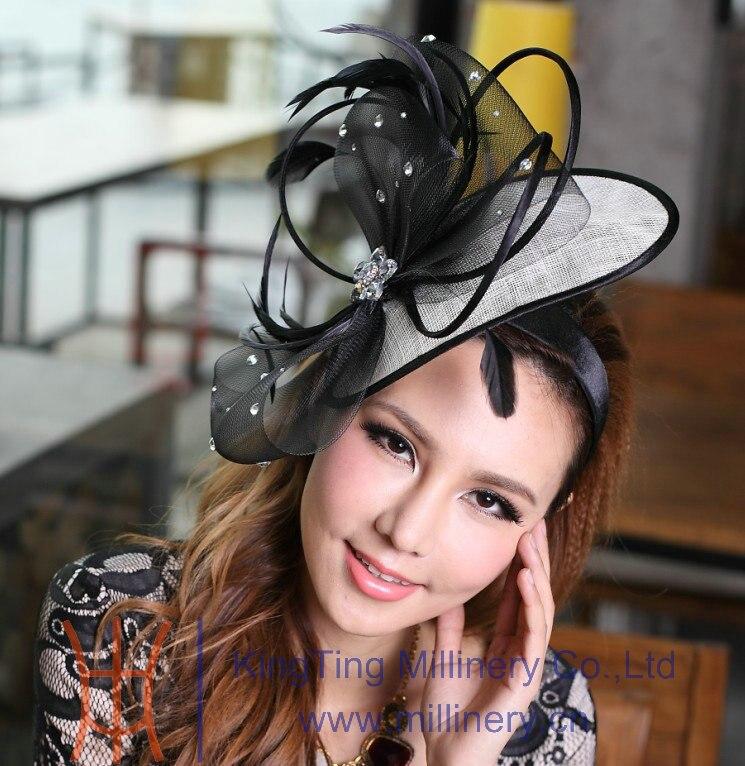 ФОТО Free Shipping Elegant Headbands Feather Hair Fascinator Hats Hair Accessories Wedding Headpiece Princess Bows Black Mesh Stones