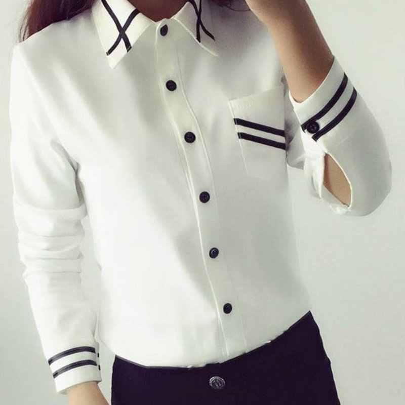 91ac0c4ac45 Летняя рубашка Для женщин Элегантный Белая блузка отложным воротником  рубашка с воротником женские офисные топы Школа