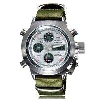 Fashion Brand Men Sports Watches GIMTO Nylon Strap Male LED Clock Digital Analog Watch Army Military