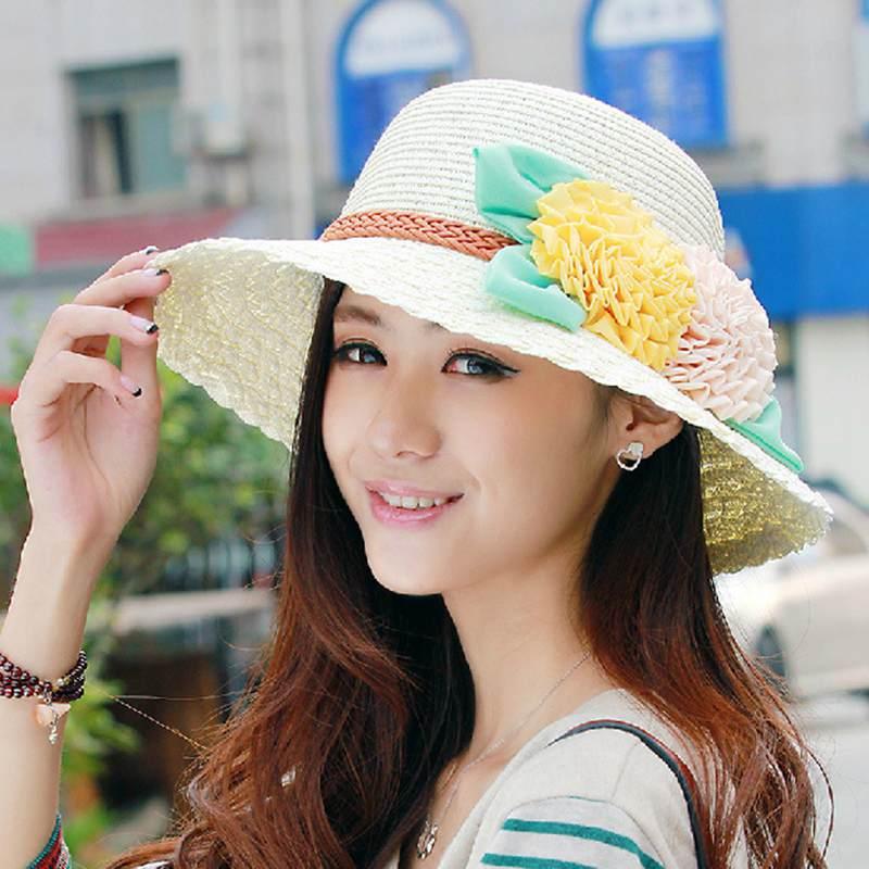 1PCS Women Lady Girls Pure Color Foldable Wide Big Brim Elegant Bowknot Sun Hat Bohemia Style Summer Beach Straw Cap UPF 50+