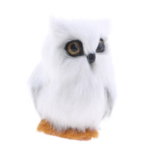 Cute White Owl Furry Mini Bird Ornament Decoration Adornment Simulation Artificial Owls for Home Decor(China)