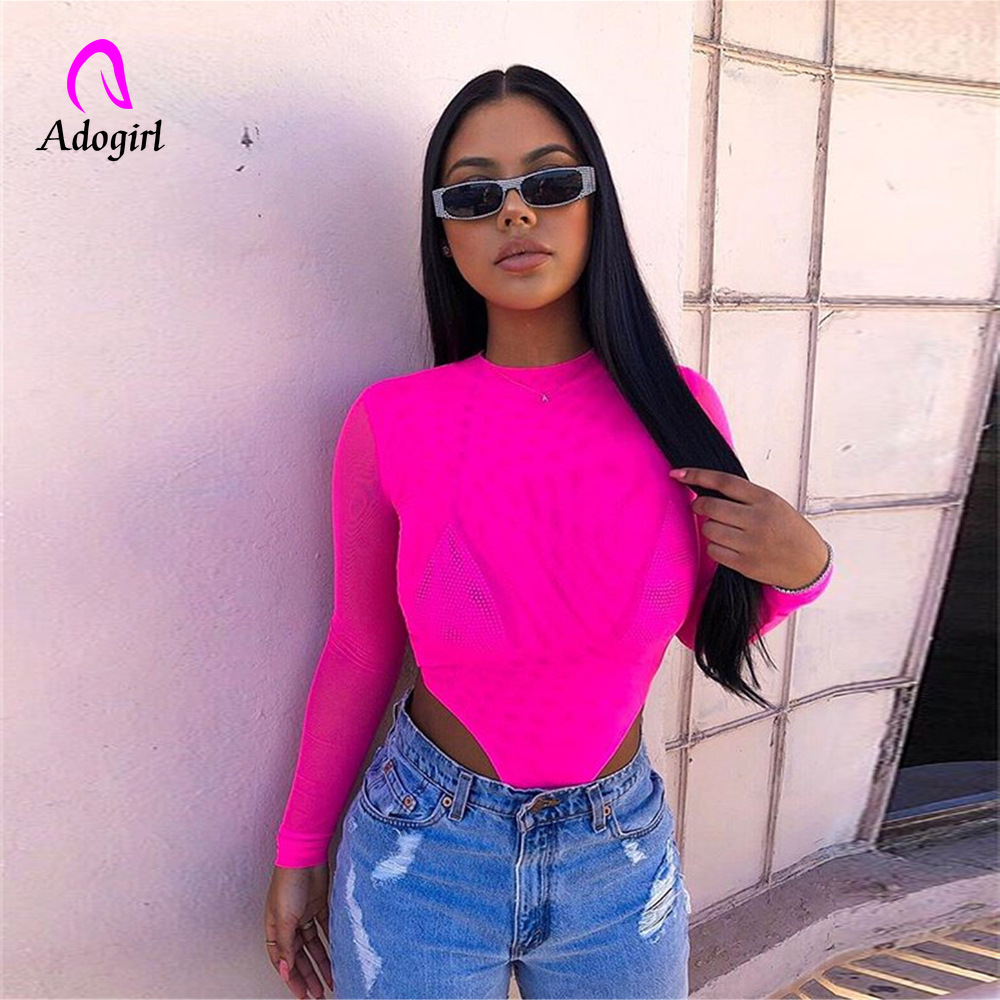 2019 Autumn Neon Women Bodysuit Mesh Long Sleeve Body Neon Green High Waist Party Bodysuits Bodycon Jumpsuit Transparent Rompers