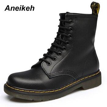 Aneikeh/женские ботильоны, женская обувь 2018, весенне-Осенняя обувь из натуральной кожи на шнуровке в стиле панк, большие размеры 43, 44, обувь для в...