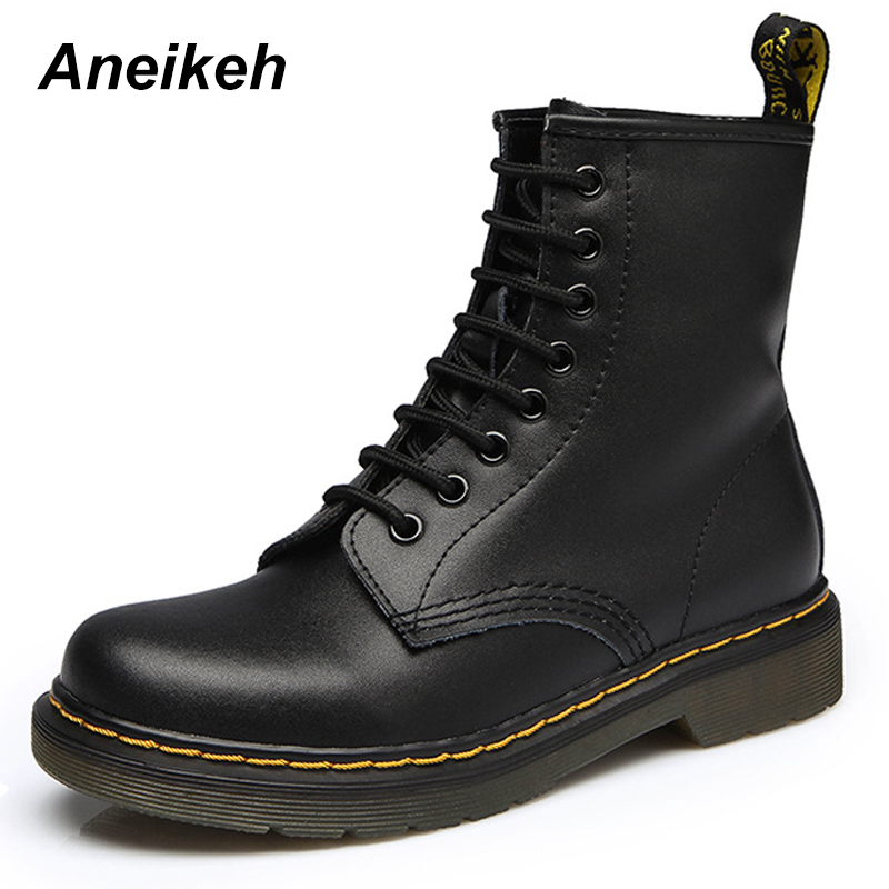 Aneikeh Frauen Stiefeletten Schuhe Frau 2018 Frühling Herbst Echtem Leder Lace Up Schuhe Punk Plus Größe 43 44 Reiten, equestr Stiefel