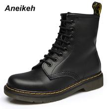 Aneikeh/женские ботильоны, женская обувь 2018, весенне-Осенняя обувь из натуральной кожи на шнуровке в стиле панк, большие размеры 43, 44, обувь для верховой езды, сапоги-ботфорты