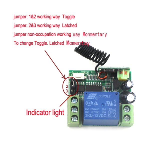 Remote Switch,DC 12V 1CH RF Wireless Remote Control Switch Transmitter Receiver Controller