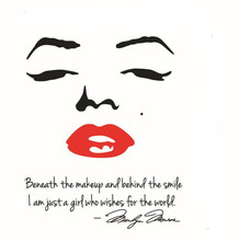 Free shipping lips and English letters Portrait of Marilyn Monroe Wall Stickers home decor decoration quote decals removable