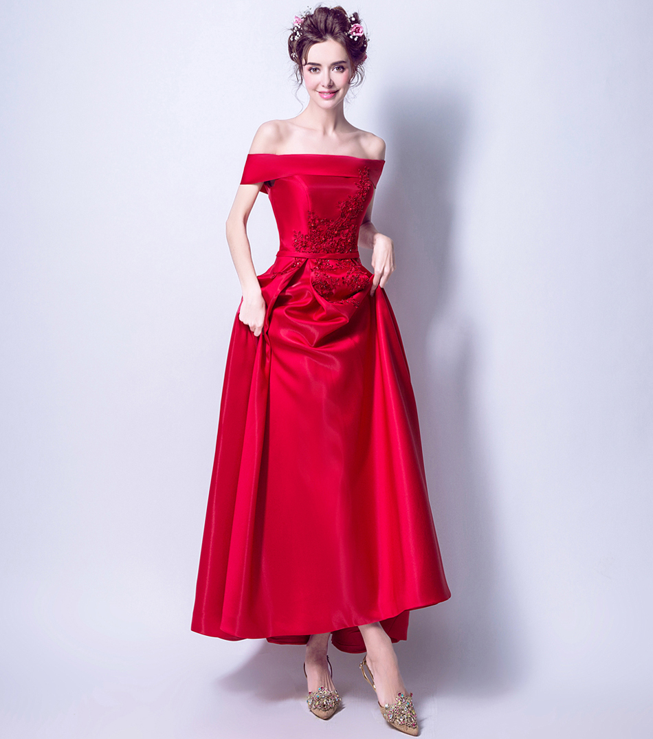 CEEWHY Boat Neck Red Formal Dress Women Elegant Prom Party Gown Embroidered  Evening Dresses Beaded Wedding Party Dresses Abiye eb6e291f3b99