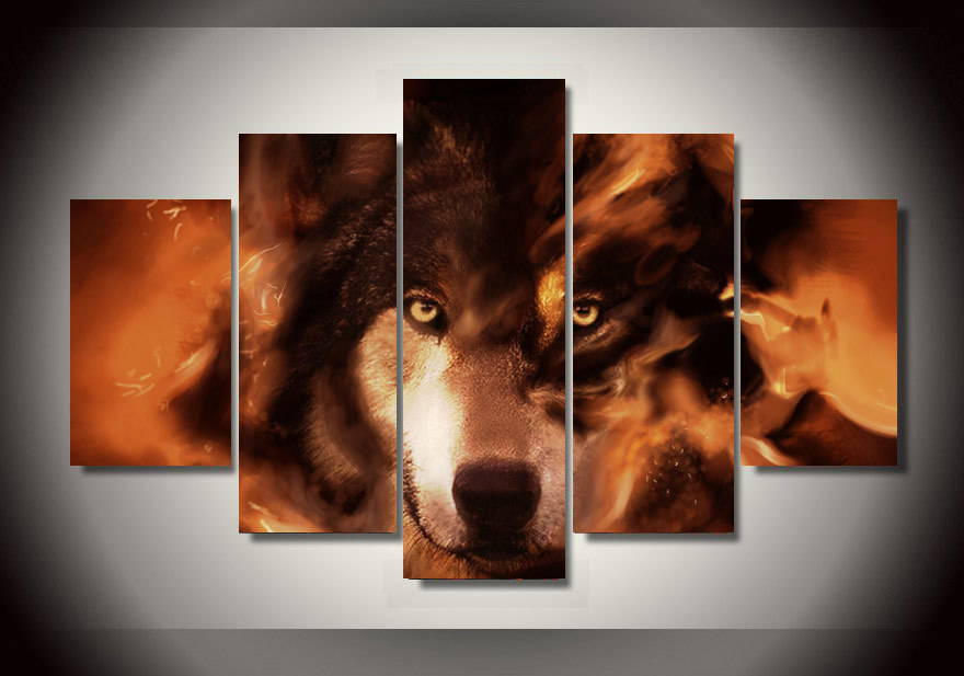 5 panel framed printed wolf group painting childrens room decor print poster picture canvas frames wall art free shipping in painting calligraphy from - Wolf Picture Frames