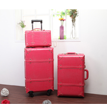 Hot sale!Korea fashion style pu leather travel luggage bags  sets,women 14 22 24inches trolley luggage with rod on wheels,retro