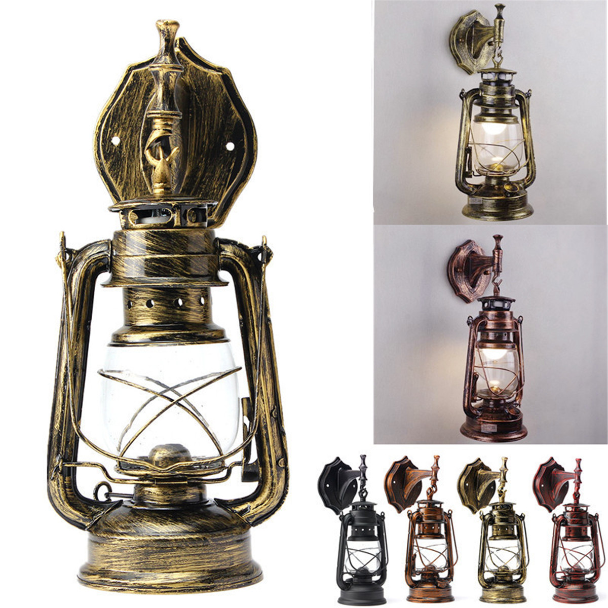 E27 Retro Classic Kerosene Lamp Wall Light Sconce Holder Portable Lights Adornment Bar Club Coffee Shop Restaurant Home Decor