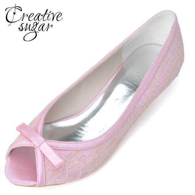 Creativesugar open peep toe elegant sweet lace ribbon bow kitten heel shoes  woman pumps wedding party prom Pink Blue white