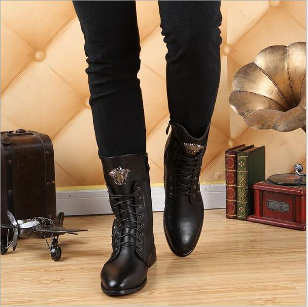 2015 New Pointed Toe Men Tall Boots Fashion Genuine Leather Winter ...