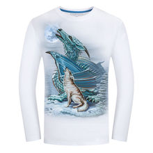BB 03-04  2017 Men's T-shirt Long Sleeve Print 3D Dragon And Wolf Under the Moon