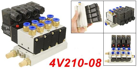 Free Shipping 4V210-08 DC12V Quadruple Solenoid Valve Mufflers 6mm Quick Fittings Base Set DC24V,AC110V or AC220V цена