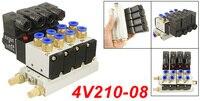 Free Shipping 4V210 08 DC12V Quadruple Solenoid Valve Mufflers 6mm Quick Fittings Base Set DC24V,AC110V or AC220V