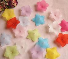 280pcs 10*33mm Beautiful Acrylic Flower Beads With Hole For Hair Peice Tiaras Jewelry Scrapbooking Craft DIY
