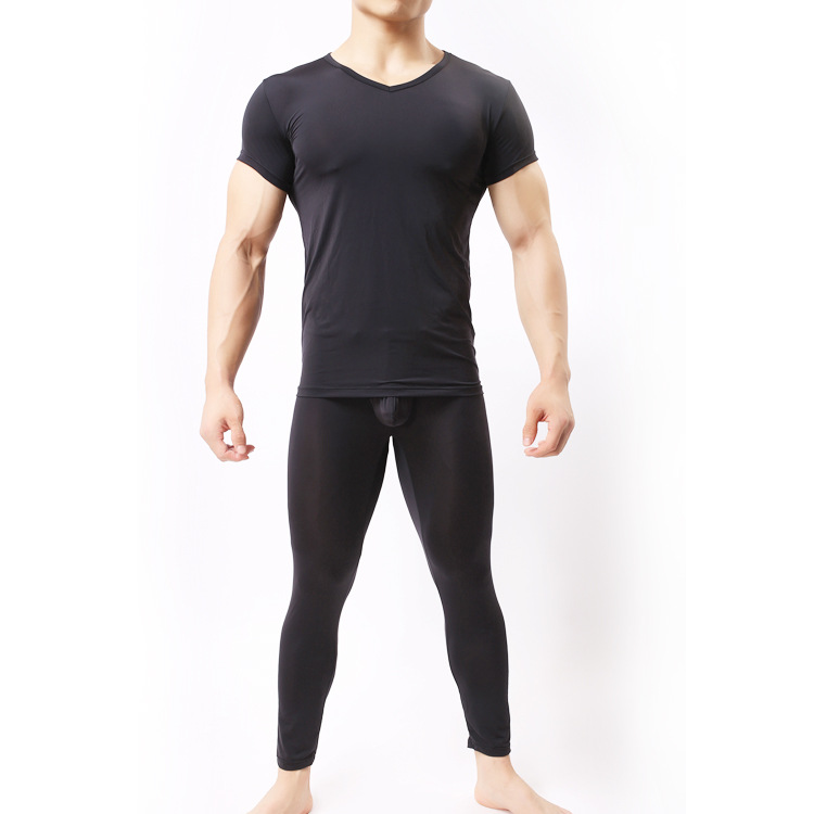 Sex Costumes For Man T-shirt Ultra-thin Male Tight Sleep Sets Bodysuit Lingerie Soft Sexy Pajamas Suit For Men Black White Begie