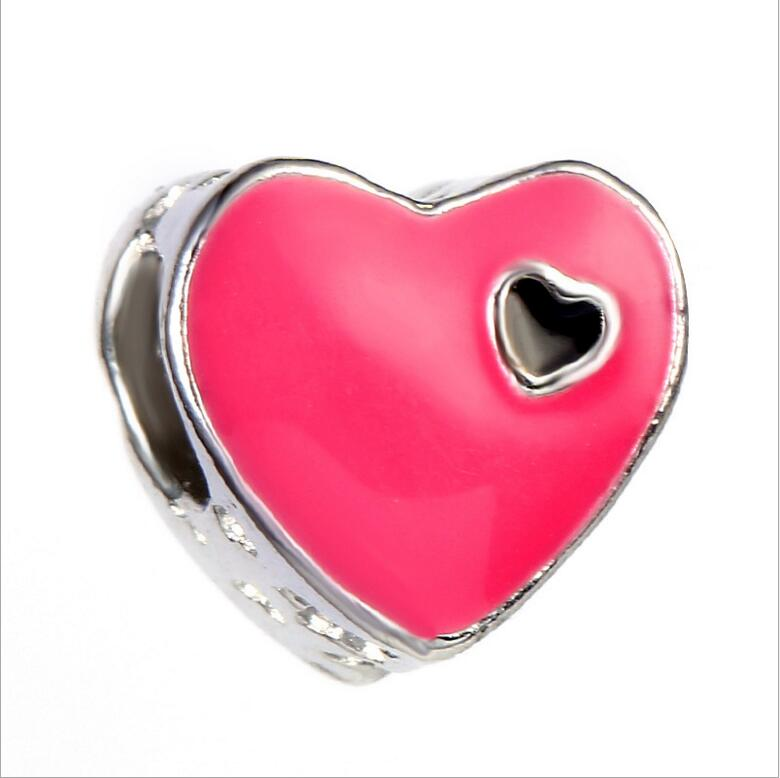 Hollow Drip Alloy Metal Heart Beads Silver Big Hole Spacer Beads Charms fit European Pandor Women diy Bracelets Bangles Jewelry