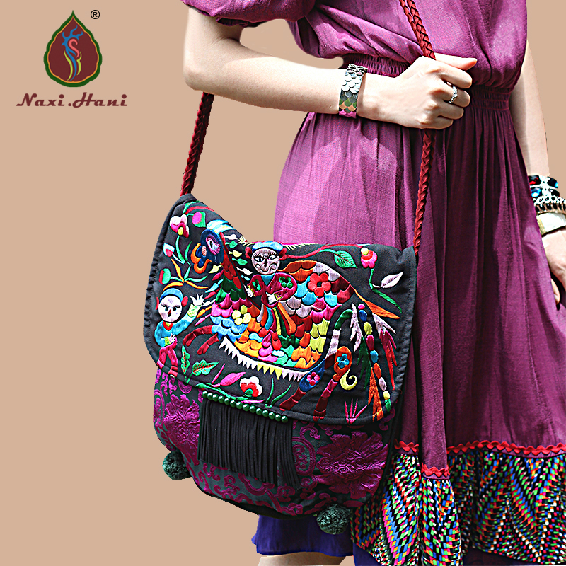 Online HOT Ethnic embroidery canvas Saddle bags Exotic handmade tassel Cover Women messenger bags Vintage Travel bags original ethnic embroidered women handbag vintage handmade tassel shoulder bags black canvas casual large bags