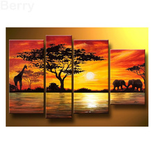 DIY 5d diamond Painting 5 pcs Home Decoration African Elephant Painting Wall Decor Diamond Embroidery Giraffe Sunset Landscape(China)