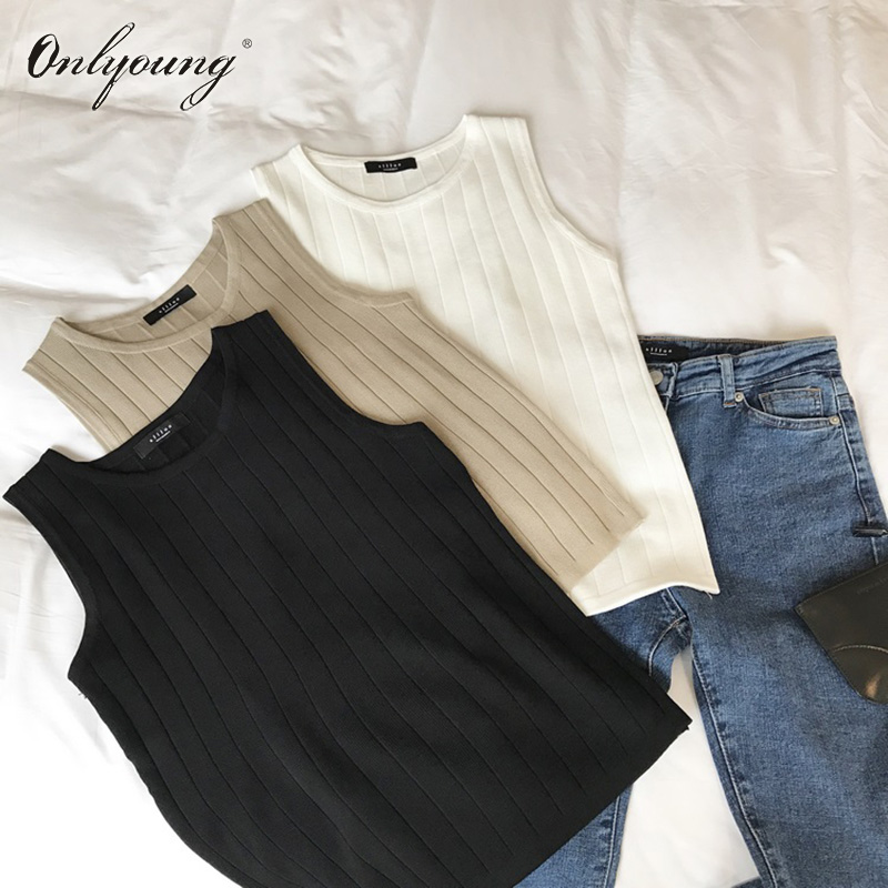 Onlyoung 2018 Summer Women   Tank     Top   Sleeveless T-shirt Sexy Knitted   Top   Camisole Vest Female T Shirt