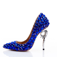Wedding Pumps Women 11cm High Heels Crystal Royal Blue Shoes Metal Heels Rhinestone Luxury Stiletto Ladies Bridal Party Shoes