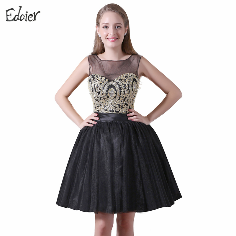 New Arrival Short Cocktail Dresses 2017 A Line Sheer Scoop Black Party Dress  Gold Lace Prom - Popular Prom Gowns With Sleeves Black And Gold-Buy Cheap Prom