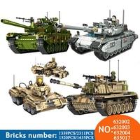 NEW PLS Military 632002 632003 1339pcs TYPE 99 Main Battle Tank Building Blocks Bricks enlighten toys for children Compatible