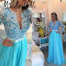 2017 sexy langärmelige perle spitze prom dress sky blue chiffon gala jurken lang fashion formal dress frauen abendkleider Dubai