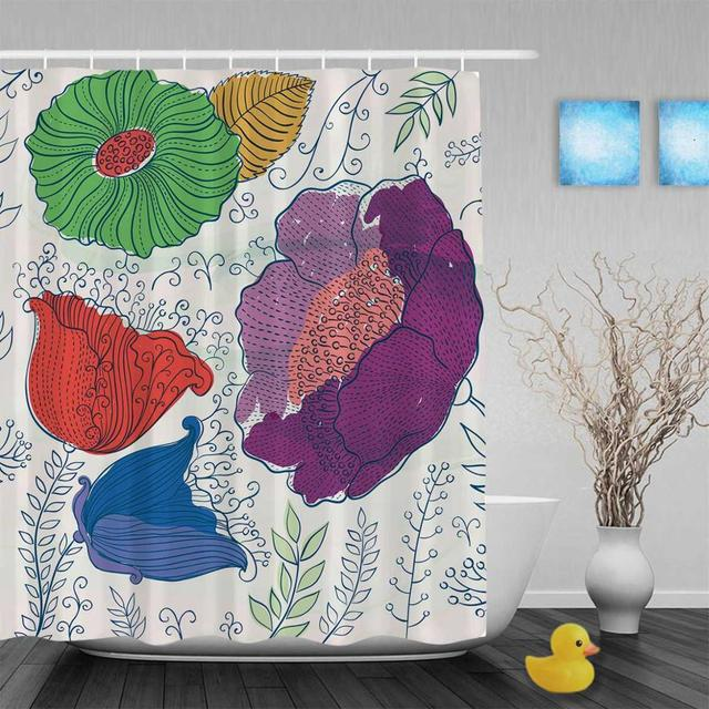 Beautiful Blooming Flowers Leaves Bathroom Shower Curtains Bright Color Curtain Waterproof Polyester Fabric With Hooks
