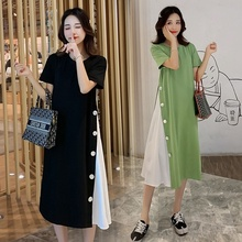 Womens Maxi Dress Loose Summer Long Button Stitching Maternity Dresses Plus Size