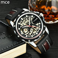 MCE Mens Watches Top brand Luxury Mechanical Watches Leather Band Gold Skeleton Mechanical Watch For Men Relojes Hombre 2016