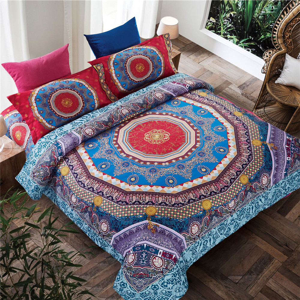 Wedding bed sheet set - 2016 New Arrical Winter Warm Bedding Set Bohemian Style Boho Flower Bed Bedsheet Quilt Wedding Duvet