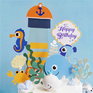 Image 2 - אוקיינוס בת ים אצות עוגת Toppers שמח יום הולדת כוכב ים קישוט לילדים של יום אפיית ספקי צד יפה מתנות
