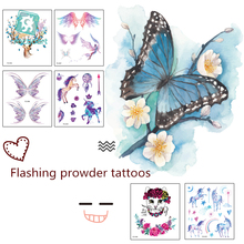 Rocooart FG Powder Temporary Tattoo Sticker Body Art Butterfly Mermaid Unicorn peacock Water Transfer Fake Taty